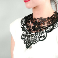 black large lace bib necklace - gothic gold charm beaded - statement necklace - jewelry gift
