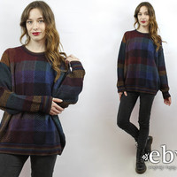 Oversized Sweater Oversized Knit Oversized Jumper Rainbow Sweater Rainbow Jumper Plaid Sweater Plaid Jumper L 90s Sweater Men's Sweater