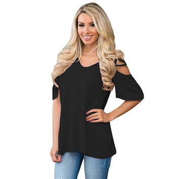 Black Cold Shoulder Crisscross Detail Relaxing Fit Top