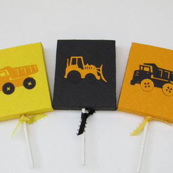 Dump Truck - Bulldozer Construction Theme Birthday Lollipop Party Favors - Set of 12