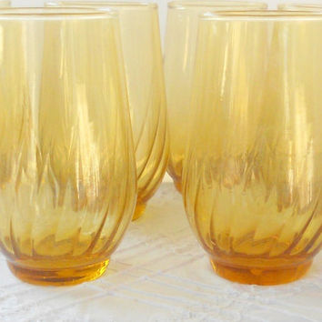 Vintage Gold Swirled Tall Drinking Glasses, Set of 6, Retro Barware