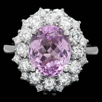 18K WHITE GOLD 4.50CT KUNZITE 1.60CT DIAMOND RING