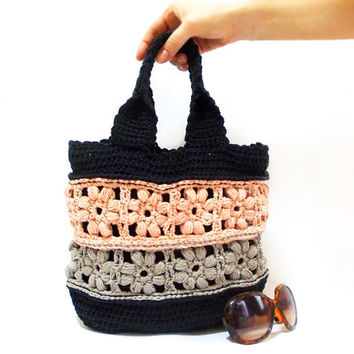 Crochet bag, Handmade tote bag, School bag, Purse, Taupe, Black, Peach, Grey, Handmade bag, Flower Bag, Shoulder, Medium handbag, Hobo bag