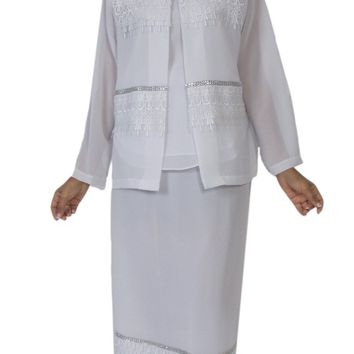 Hosanna 5134 Plus Size 3 Piece Set White Tea Length Dress