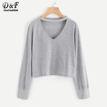 Ladies V Cut Club Tee Shirt Grey V Neck Casual Top Autumn Female Long Sleeve Drop Shoulder Solid T Shirt
