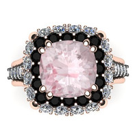 Unique Engagement Ring Black Diamond Wedding Ring 14K Rose Gold Ring with 9x9mm Cusion Cut Morganite Center  - V1095