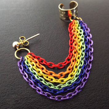 Rainbow Gay Pride chained gold ear cuff earring