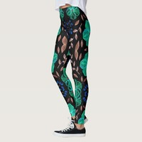 Cool Floral texture with black base Leggings