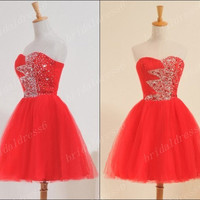 2014 Beads Red Crystals Strapless Short Ball Gown Bridesmaid Dress,Tulle Evening Party Prom Dress Cocktail Dress New Homecoming Dress