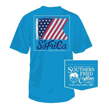 Land of the Free Tee in Snow Cone by Southern Fried Cotton