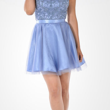 Appliqued Halter Top Tulle Overlay Short Party Dress Periwinkle