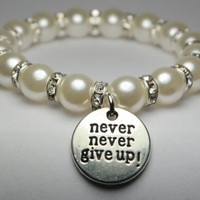 never give up bracelet - anxiety - mental health - depression - self harm - motivational quotes - inspirational quotes - handmade bracelet
