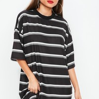 Missguided - Black Stripe Oversized T-Shirt Dress