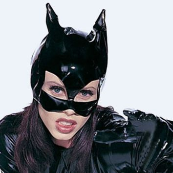 1PC Sexy lingerie nightclub Catwoman Batman black PVC cat women leather head mask costume Halloween Mask Cosplay Prop