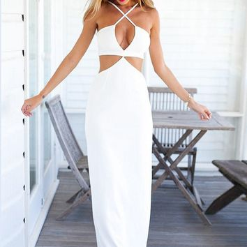 White Criss Cross Dress - Marilyn Maxi