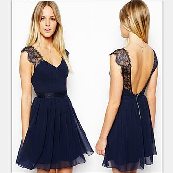 Sleeveless V-Neck  Backless Lace Dress