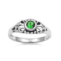 Sterling Silver Green Emerald CZ Ring Size 1-5
