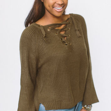 Love on the Weekend Sweater - Olive