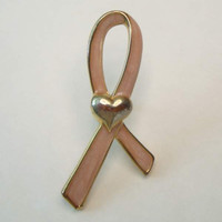 Avon SP Pink Breast Cancer Awarness Lapel Pin Tie Tac w Heart Jewelry