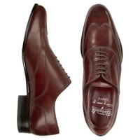 Fratelli Borgioli Designer Shoes Handmade Burgundy Italian Leather Wingtip Oxford Shoes