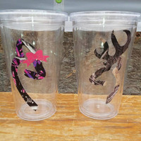 Buck and doe Couples Tumblers!! Great for Honeymoon, wedding gift, Christmas gifts!! 16 oz Tumblers! Browning Inspired!!