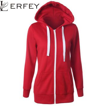 Womens Sweatshirt Casual Solid Hoodie Lapel Hooded Zipper Sweatshirts