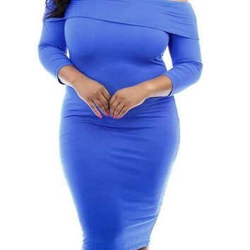 Blue Backless Off Shoulder Plus Size Bodycon Party Midi Dress