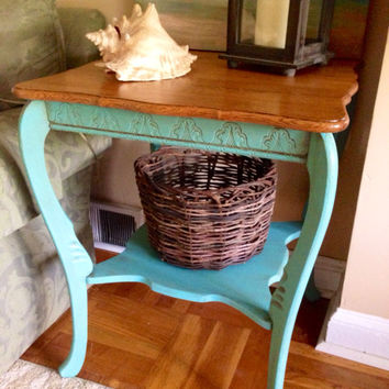 Vintage Large Accent Table Hand Painted in Aqua