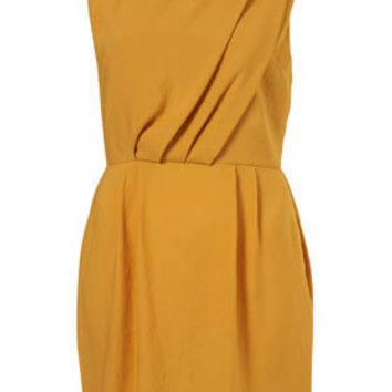 Yellow Short Sleeve Tuck Shift Dress - New In - Topshop