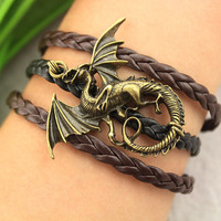 lord of ring inspiration--evil dragon bracelet,antique bronze charm bracelet,brown black braid leather