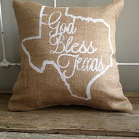"Burlap Pillow, State of Texas burlap pillow- ""God Bless Texas"" - Made to Order, Graduation Gift"