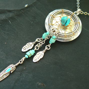 tribal locket.dreamcatcher locket,dreamcatcher necklace