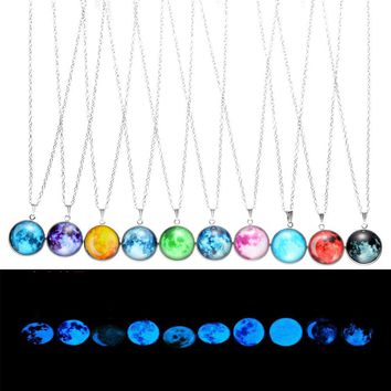 New Arrival Glowing Jewelry Full Moon Necklace Handmade Glass Dome Lunar Eclipse Necklace Glow in the dark Pendant Jewelry