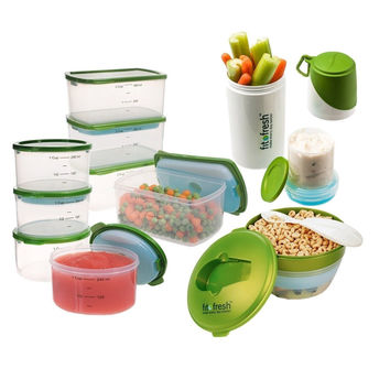 Fit & Fresh Perfect Portion Kit with Breakfast Chiller and Snacker Green