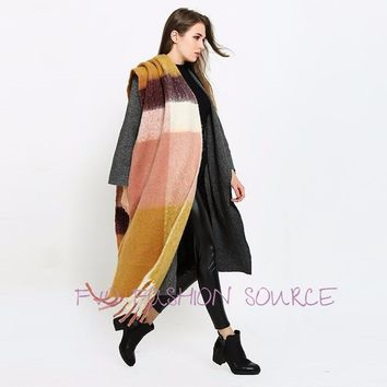 Extra Large cozy Chic  Winter Cashmere Scarf  in Euro Style Plaid