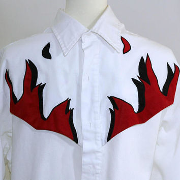 "Men's Western Shirt White with Red and Black Flame Details on Front and Back Yokes by ""Steer West"" 