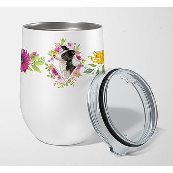 Border Collie Pink Flowers Stainless Steel 12 oz Stemless Wine Glass CK4258TBL12