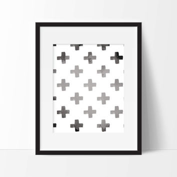 Minimal Cross Fading Art Print - Nursery Art - Children's Wall Art - Playroom Art - Minimalist Art