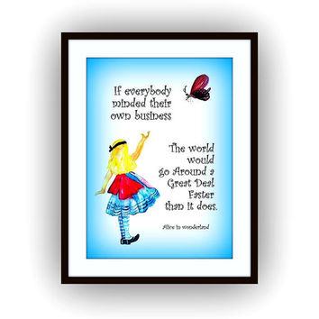Alice in wonderland Quote, Printable Movie Wall decor, picture decals, watercolor painting decors, Disney Fantasy decal, Lewis Caroll Quotes