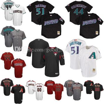 Custom Men's Arizona Diamondbacks 44 Paul Goldschmidt 51 Randy Johnson 22 Jake Lamb baseball jerseys Cool Base /Mesh Batting Practice Jersey