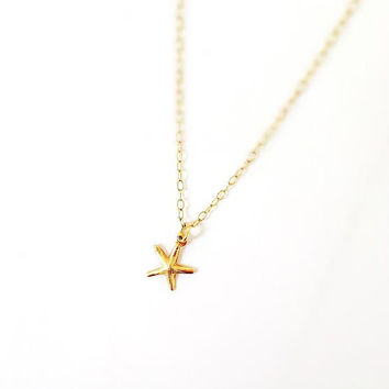 Tiny 14k Gold filled Starfish Necklace. Modern and Minimal Jewelry. Gift for Her
