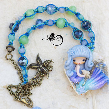 polymer clay necklace / siren / clay / fimo / zingara creativa