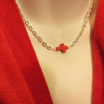 Minimalist Necklace, Red Howlite Turquoise Side Ways Cross and White Beads on Silver Chain