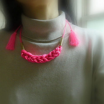 Neon Pink Knot Necklace, gold, adjustable,Fiber Necklace,Rope Necklace, tassel necklace, natural, Nautical Necklace, Minimalist,boho jewelry