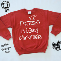 Meowy Christmas Sweater. Unsisex Christmas sweater. Cat Christmas shirt. Holiday sweatshirt. Funny Holiday sweatshirt. Gift for cat lover.
