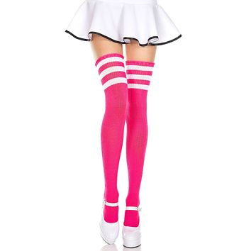 Fuchsia and White 3 Stripe Thigh High Socks
