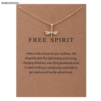 "Fashion Jewelry Reminder ""Free Spirit"" Gold-color Dragonfly Pendant Necklace Women"