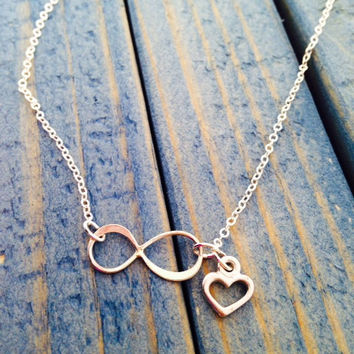 Sideways Sterling Silver Infinity Necklace with Heart