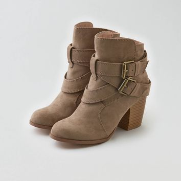 AEO Double Buckle Heeled Bootie