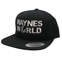 FLEXFIT Wayne's World Embroidered Flatbill Snapback Cap (One Size, Black)